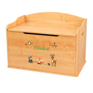 Personalized Natural Wooden Toy Box with Green Forest Animal design