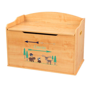 Personalized Natural Wooden Toy Box with North Woodland Critters design
