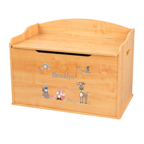 Personalized Natural Wooden Toy Box with Gray Woodland Critters design