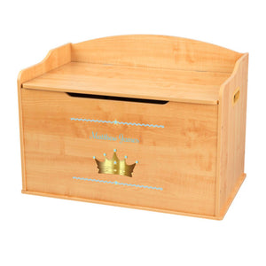 Personalized Natural Wooden Toy Box with Prince Crown Blue design
