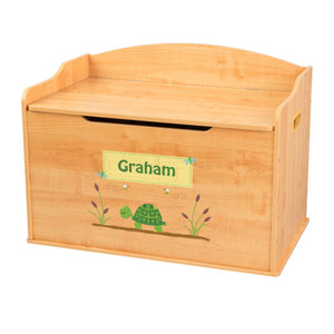 Personalized Natural Wooden Toy Box with Turtle design