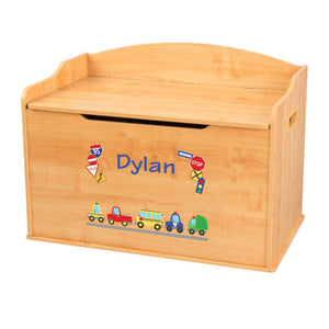 Personalized Natural Wooden Toy Box with Cars and Trucks design