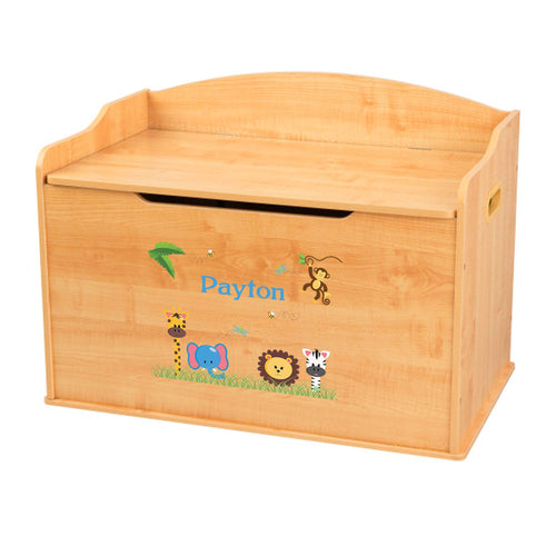 Personalized Natural Wooden Toy Box with Jungle Animals Boy design