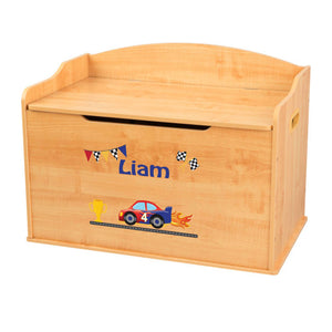 Personalized Natural Wooden Toy Box with Race Cars design