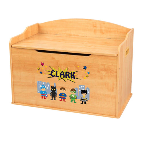 Personalized Natural Wooden Toy Box with Superhero design
