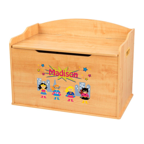 Personalized Natural Wooden Toy Box with Super Girls design