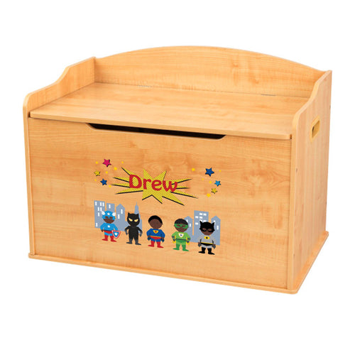 Personalized Natural Wooden Toy Box with Superhero African American design