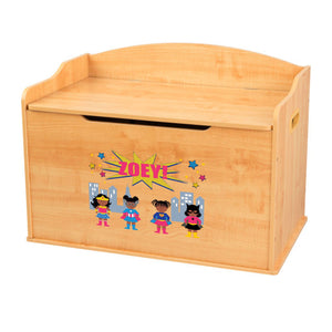 Personalized Natural Wooden Toy Box with Super Girls African American design