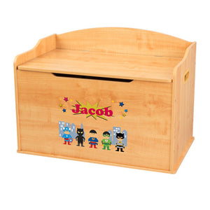 Personalized Natural Wooden Toy Box with Superhero Asian design