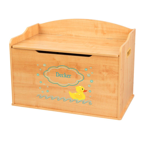 Personalized Natural Wooden Toy Box with Rubber Ducky design
