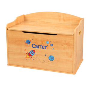Personalized Natural Wooden Toy Box with Rocket design
