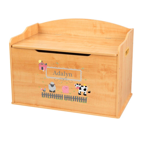 Personalized Natural Wooden Toy Box with Barnyard Friends Pastel design