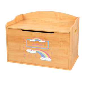 Personalized Natural Wooden Toy Box with Rainbow Pastel design
