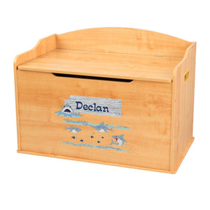 Personalized Natural Wooden Toy Box with Shark Tank design