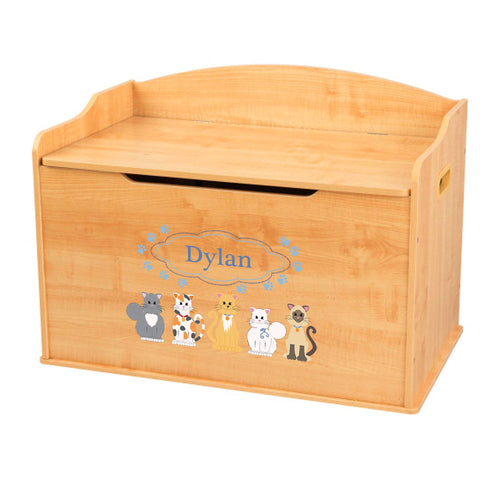 Personalized Natural Wooden Toy Box with Blue Cats design