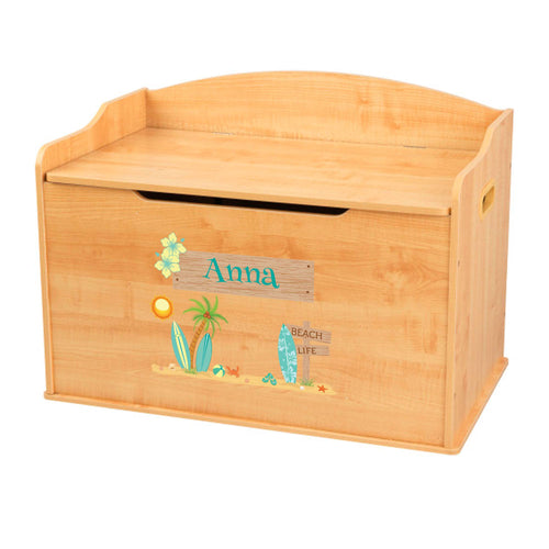 Personalized Natural Wooden Toy Box with Surf'S Up design