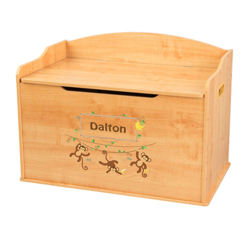 Personalized Natural Wooden Toy Box with Monkey Boy design