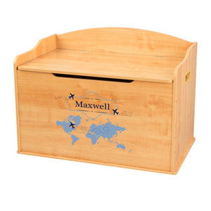 Personalized Natural Wooden Toy Box with World Map Blue design