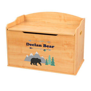 Personalized Natural Wooden Toy Box with Mountain Bear design