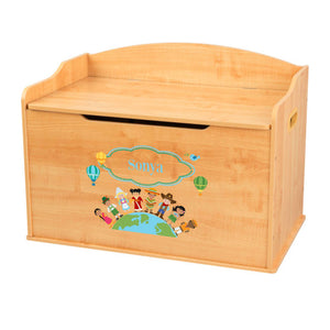 Personalized Natural Wooden Toy Box with Small World design