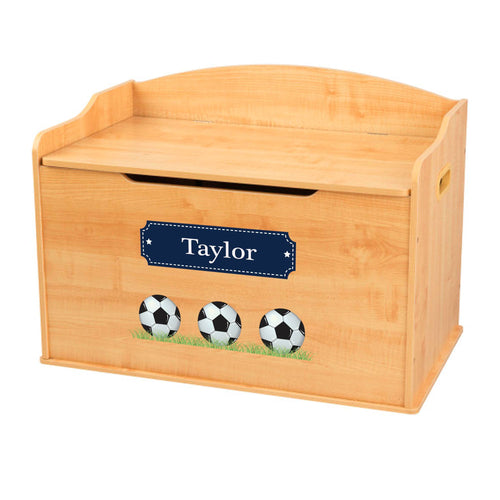 Personalized Natural Wooden Toy Box with Soccer Balls design
