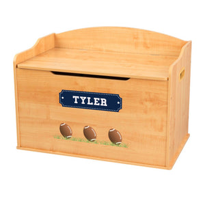 Personalized Natural Wooden Toy Box with Footballs design
