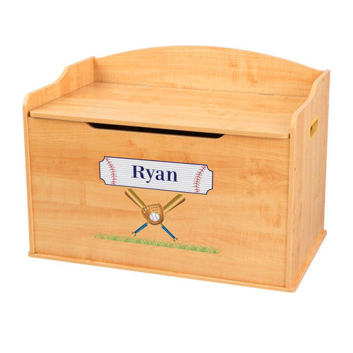 Personalized Natural Wooden Toy Box with Baseball design