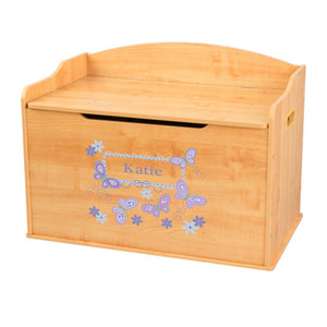 Personalized Natural Wooden Toy Box with Butterflies Lavender design