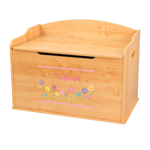 Personalized Natural Wooden Toy Box with Stemmed Flowers design
