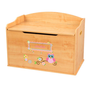 Personalized Natural Wooden Toy Box with Pink Owl design