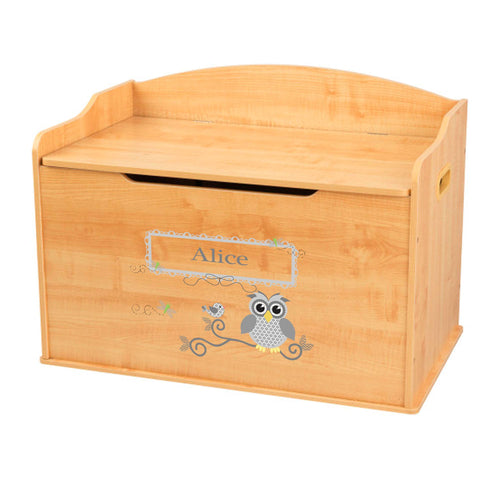 Personalized Natural Wooden Toy Box with Gray Owl design