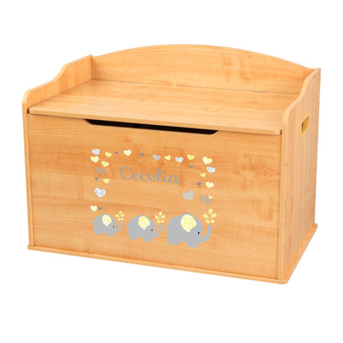 Personalized Natural Wooden Toy Box with Yellow Elephants design