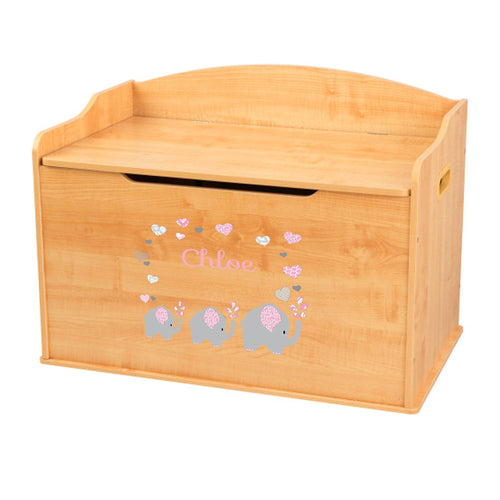 Personalized Natural Wooden Toy Box with Pink Elephant design