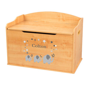 Personalized Natural Wooden Toy Box with Gray Elephant design