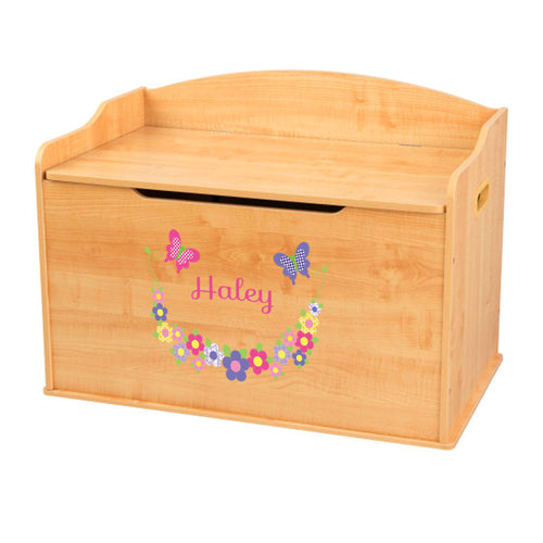 Personalized Natural Wooden Toy Box with Bright Butterflies Garland design
