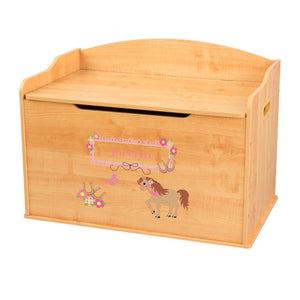 Personalized Natural Wooden Toy Box with Ponies Prancing design