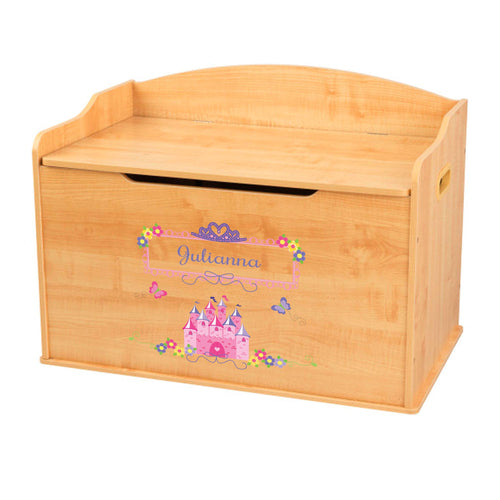 Personalized Natural Wooden Toy Box with Princess Castle design