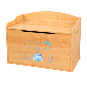 Personalized Natural Wooden Toy Box with Ice Princess design