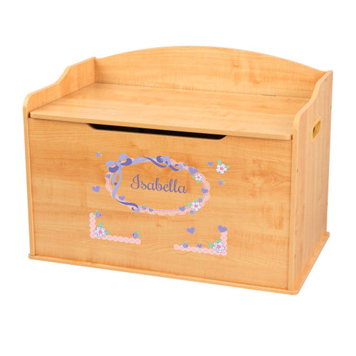 Personalized Natural Wooden Toy Box with Lacey Bow design