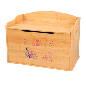 Personalized Natural Wooden Toy Box with Pink Rock Star design
