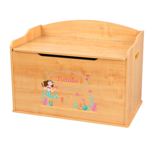 Personalized Natural Wooden Toy Box with Brunette Mermaid Princess design