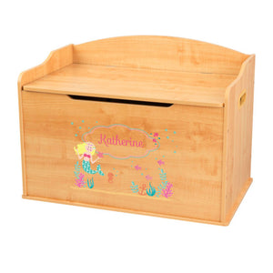 Personalized Natural Wooden Toy Box with Blonde Mermaid Princess design