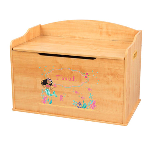 Personalized Natural Wooden Toy Box with African American Mermaid Princess design