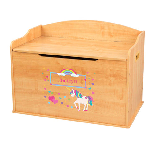 Personalized Natural Wooden Toy Box with Unicorn design