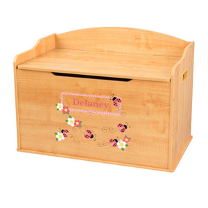 Personalized Natural Wooden Toy Box with Pink Ladybugs design