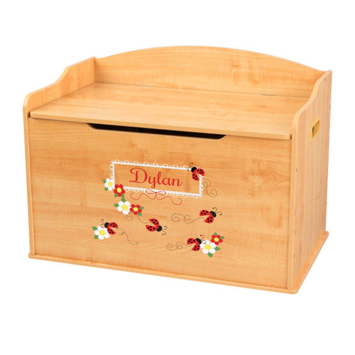 Personalized Natural Wooden Toy Box with Red Ladybugs design