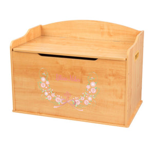 Personalized Natural Wooden Toy Box with Holy Cross Blush Floral Garland design