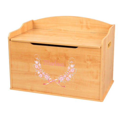 Personalized Natural Wooden Toy Box with Pink Gray Floral Garland design
