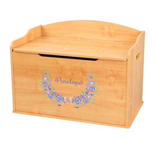 Personalized Natural Wooden Toy Box with Lavender Floral Garland design