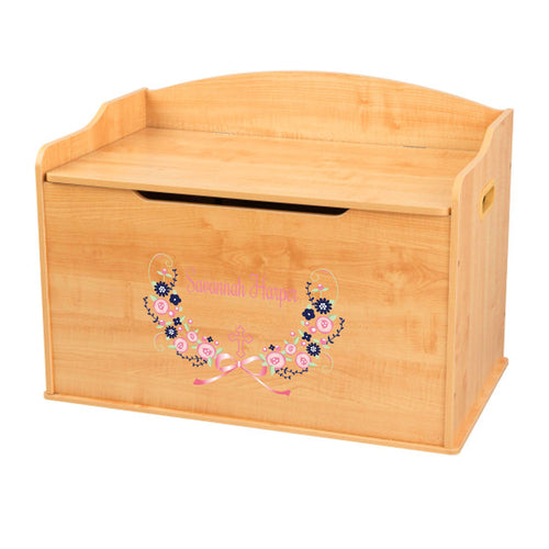 Personalized Natural Wooden Toy Box with Holy Cross Navy Pink Floral Garland design